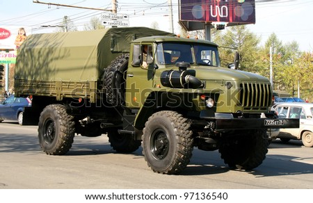 CHELYABINSK, RUSSIA - MAY 9: Army truck Ural-43206 exhibited at the annual Victory Parade on May 9, 2009 in Chelyabinsk, Russia.