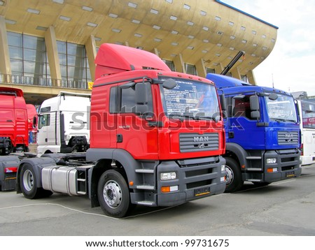 "CHELYABINSK, RUSSIA - MAY 26: Semi-trailer trucks MAN TGA exhibited at the annual Motor show ""Benzokolonka"" on May 26, 2007 in Chelyabinsk, Russia. - stock photo"