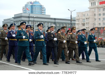CHELYABINSK, RUSSIA - MAY 9: Unidentified war veterans participate in the parade for Victory Day on May 9, 2011 in Chelyabinsk, Russia