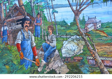 CHEMAINUS BC CANADA JUNE 23 2015: Mural tell the story of Chemainus is a city on the east coast of Vancouver Island, British Columbia. The Chemainus is now famous for its 39 outdoor murals.