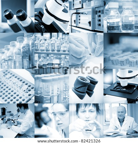 chemical biology research set - stock photo