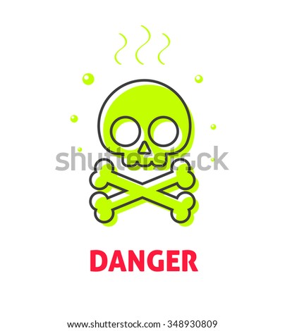 Chemical caution label, waste danger safety sign symbol, toxic trash hazard ribbon, warning, alert flat icon badge with skull crossbones, risk tag, logo concept illustration isolated on white image - stock photo