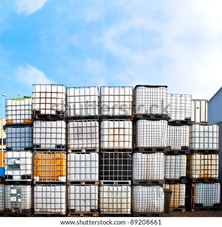 Chemical container on a storage site - stock photo
