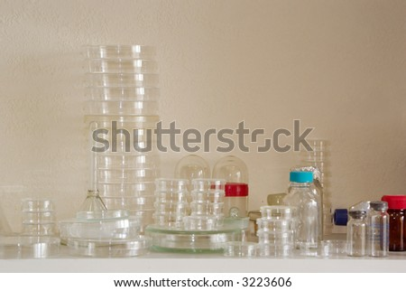 chemical dishes on the desk - stock photo
