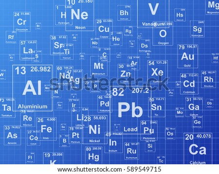 Chemical elements background illustration on blueprint stock background illustration on blueprint malvernweather Choice Image