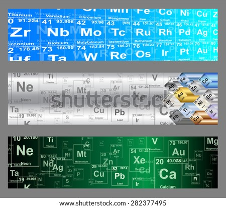 Chemical elements periodic table web banner backgrounds  - stock photo