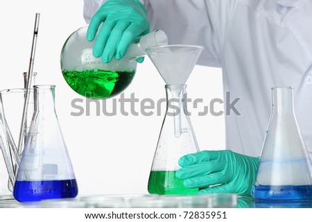 chemical experiment macro - stock photo