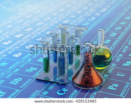 Chemical experiment, science research and chemistry concept, laboratory equipment: test tubes and flasks with multicolored liquids on blue background with periodic table of elements, 3d illustration - stock photo