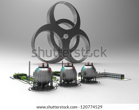 chemical factory and biohazard - stock photo