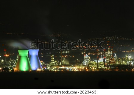 Chemical Factory At Night - stock photo
