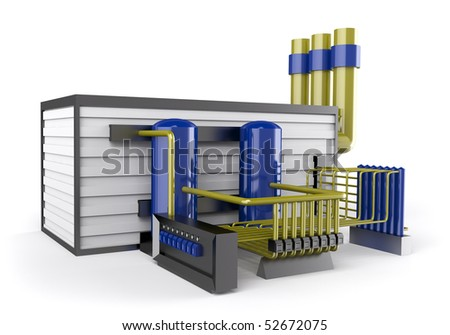 chemical factory 3d illustration - stock photo