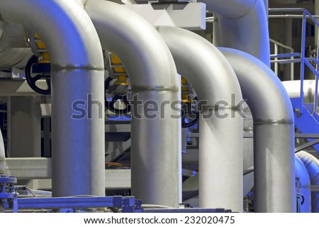 Chemical factory pipeline - stock photo