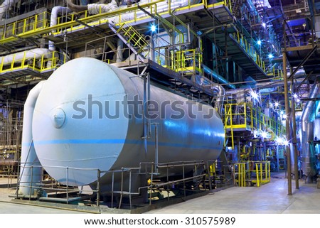Chemical factory.The interior of the refinery. - stock photo