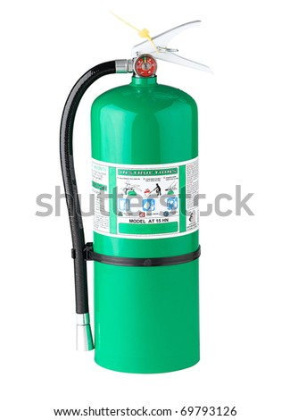 Chemical fire extinguisher isolated on white - stock photo