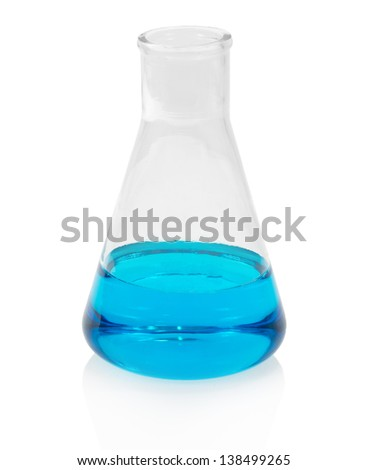 Chemical flask with blue liquid, isolated on white - stock photo