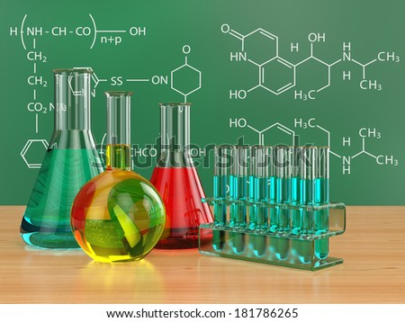 Chemical flasks and blackboard with formulas. 3d - stock photo