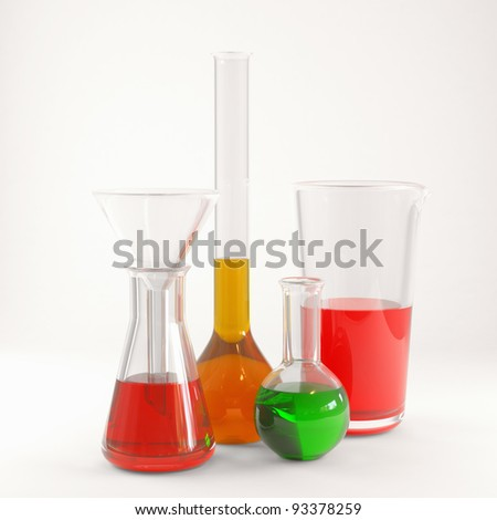 Chemical flasks with reagents 3d render - stock photo
