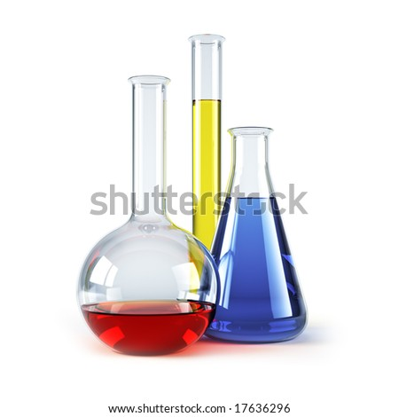 chemical flasks with reagents isolated 3d rendering - stock photo