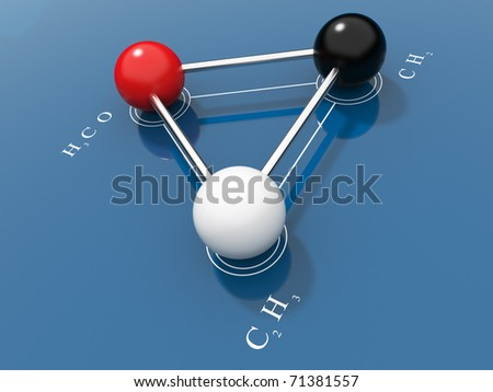 Chemical formula 3D. On a blue background - stock photo