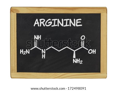 chemical formula of arginine on a blackboard - stock photo