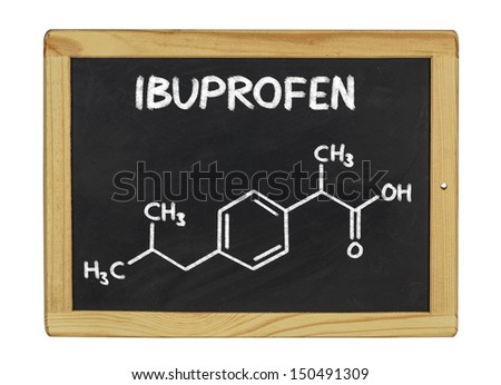 chemical formula of ibuprofen on a blackboard