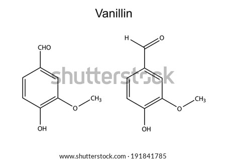 Chemical formula of vanillin molecule (flavor enhancer), 2D illustration, isolated on white