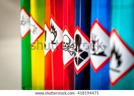 Chemical hazard pictograms Toxic focus - stock photo