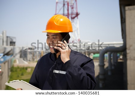Chemical industrial engineer communication via phone