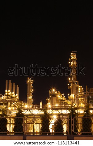 Chemical industrial in the night with beautiful lighting, Maptaphut industrial , Thailand