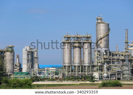 Chemical industrial plant with blue sky , Eastern industrial in Thailand - stock photo