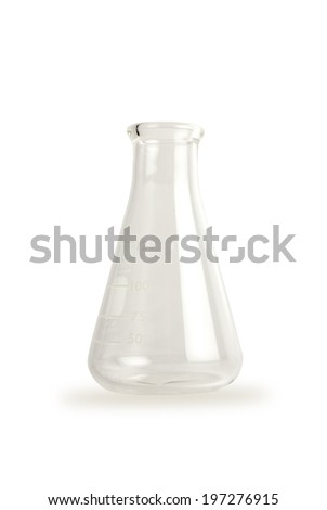 Chemical laboratory beaker, empty 125ml Erlenmeyer flask on reflective white. - stock photo