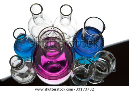 chemical laboratory equipment isolated - stock photo