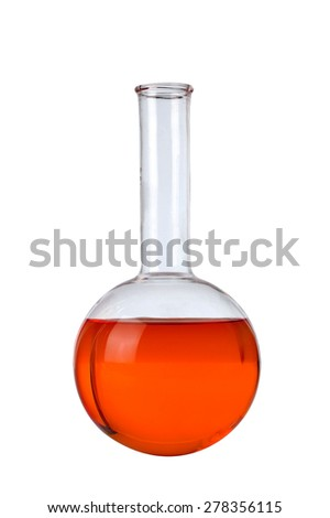 Chemical laboratory flask with red liquid - stock photo