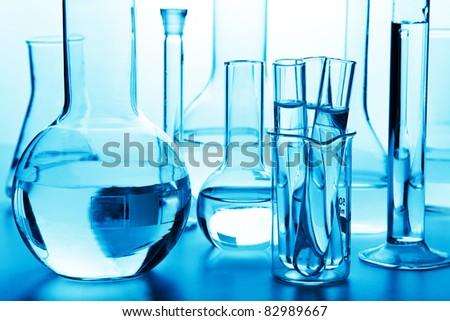chemical laboratory glassware - stock photo