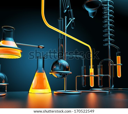 chemical laboratory with glowing liquids - stock photo