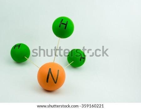 Chemical molecule ammonium on white background. - stock photo