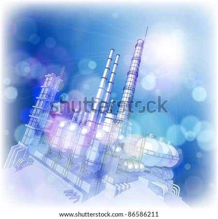 Chemical plant & blue sky.  Bitmap copy my vector ID 65081107 - stock photo