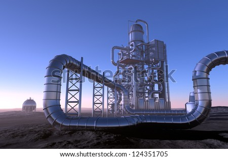 Chemical plant in the desert. - stock photo