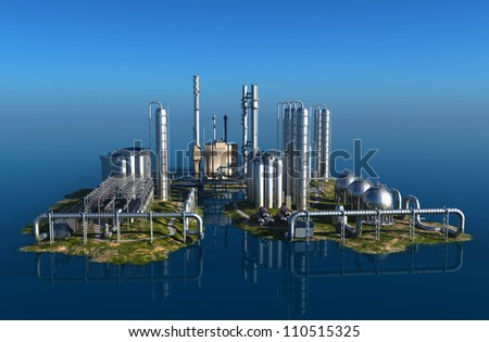 Chemical plant on the island. - stock photo