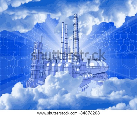 Chemical plant & technology background. Bitmap copy my vector ID 52829056 - stock photo