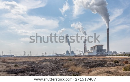 chemical plant, toned iamges, zhaijiang china. - stock photo