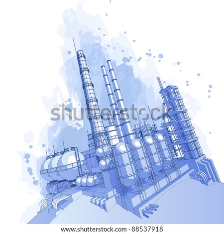 Chemical plant & watercolor background. Bitmap copy my vector id 16555093 - stock photo