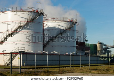 Chemical plant where crude oil is being refined