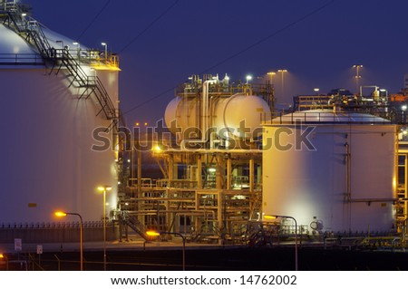 Chemical production facility - stock photo