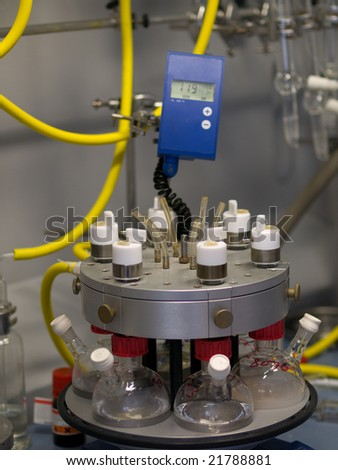 Chemical reaction setup in a chemistry research lab - stock photo