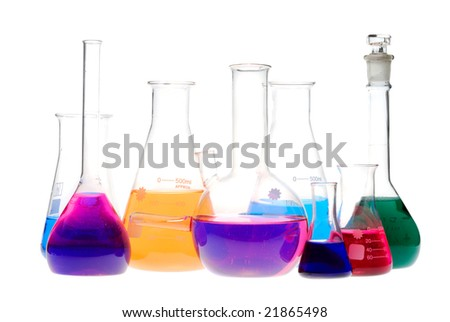 chemical retorts on white background