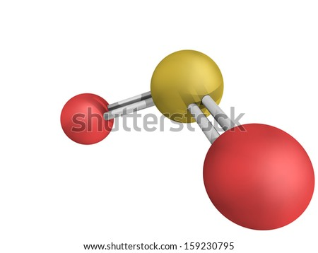 Chemical structure of sulfur dioxide (sulphur dioxide, SO2) gas, molecular model. SO2 (E220) is also used in winemaking (realistic look) - stock photo