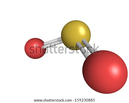 Chemical structure of sulfur dioxide (sulphur dioxide, SO2) gas, molecular model. SO2 (E220) is also used in winemaking - stock photo