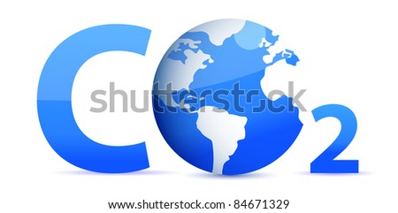 chemical symbol CO2 for carbon dioxide in blue - stock photo