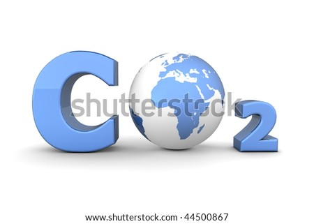 chemical symbol CO2 for carbon dioxide in shiny blue - a globe is replacing the letter o - stock photo